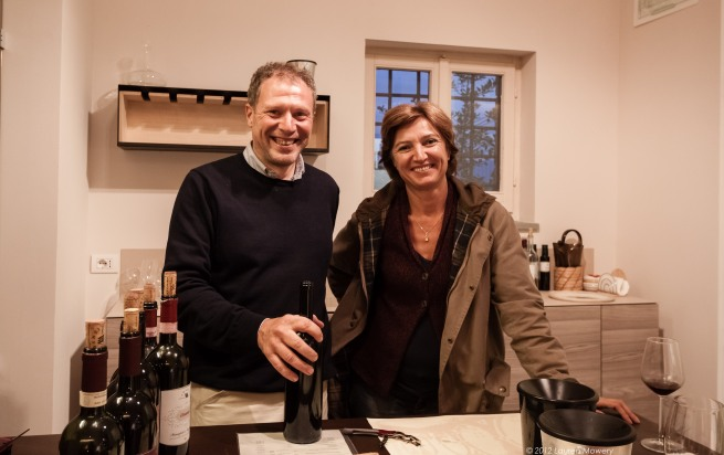 Daniele, the winemaker on left, Donatella Adanti on  right