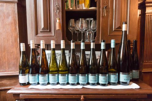 A line-up of excellent wines at Schätzel.